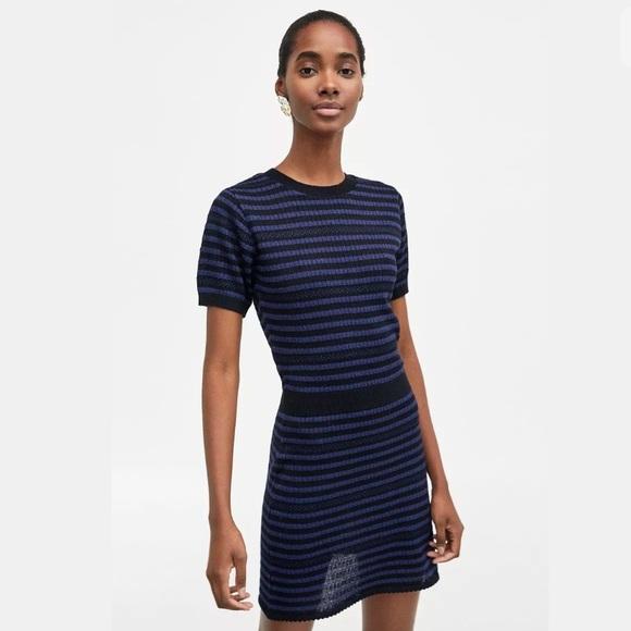 bc9cdeb903 Zara new women blue striped t shirt dress sz M NWT